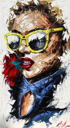 Arte Pop, Tableau Pop Art, Abstract Painters, Abstract Portrait Painting, Portrait Art, Portraits, Face Art, Art Pictures, Collage Art