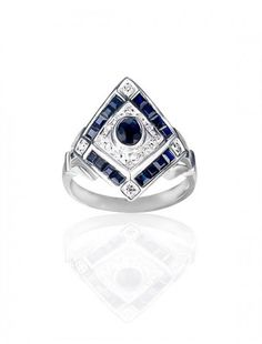 White Gold Sapphire & Diamond Ring - Available at Onyx Goldsmiths