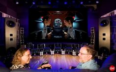 CNET's Steve Guttenberg (The Audiophiliac) and Kipnis Studios' Jeremy Kipnis during their Home Theater Magazine interview (February 2008) within the KSS TRINITY Ultimate Home Theater.    www.UltimateHomeTheaterDesign.com