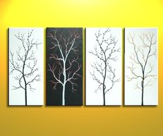 60x30 Custom Monochrome Black and White Original Tree Painting Zen