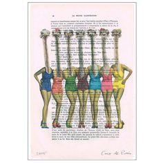Impression dautruche rétro autruche en maillots de bain