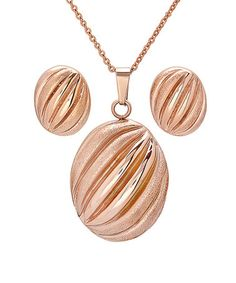 Take a look at this Rose Gold Oval Hammered Pendant Necklace & Earrings by HMY Jewelry on #zulily today!