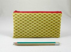 Pencil case, yellow and red pouch, zipper pouch, Pencil holder, School supplies, made in France, handmade case by JRsbags on Etsy