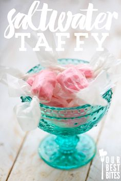 Saltwater Taffy Recipe, easier than you think! This would be super cute in red, white, and blue. Homemade Taffy, Homemade Candies, Candy Recipes, Sweet Recipes, Dessert Recipes, Dessert Ideas, Christmas Candy, Christmas Treats, Taffy Recipe
