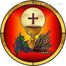 Just as physical food nourishes the body, the spiritual food of the Holy Eucharist is a banquet given to us by God to nourish and strengthen our souls as we make our way homeward to heaven. First Communion Banner, Boys First Communion, Première Communion, Stained Glass Church, Stained Glass Art, Catholic Feast Days, Jesus Photo, In Remembrance Of Me, Christian Symbols
