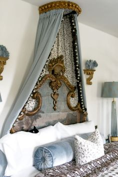 The Polohouse: Dreamy Bedrooms  blue coral on gilt sconce/shelf
