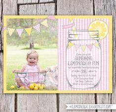 Girls First Birthday Lemonade Invitation Seersucker Mason Jar Bunting