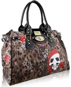 f2a5f79f8ca4 Brown Animal Print Gothic Emo Punk Skull Rose Designer Handbag (18″ x 14″)  with PreciousBags Dust Bag