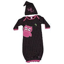 Sozo Girls Gown and Cap Set - Night Owl in Black and Pink