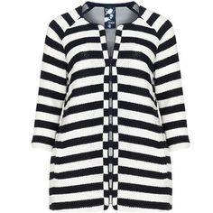 Frapp Dark-Blue / Cream Plus Size Striped cotton blend cardigan