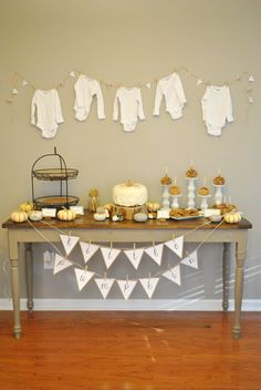 Fall themed decor, little pumpkin baby shower :) I would add a little pink!! @Cassandra Dowman Guild Craig Kitchens LOVE THIS.