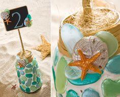 Decoupage - Mason Jar Wedding Table Numbers for a Beach Wedding - DIY Instructions