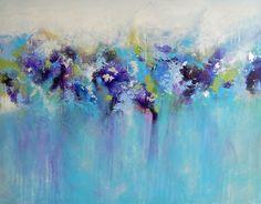 Large Original Art Canvas Modern Abstract Acrylic Painting Contemporary Art Blue Purple Canvas Artwork. £275.00, via Etsy.