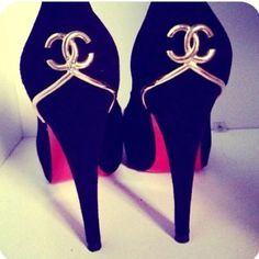 Chanel...... Lovely black and gold shoes for smart clothing