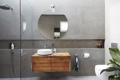 The Block Bathroom Reveals 2017 - It Was All About Circles & Face Level Storage - The Plumbette Black Tile Bathrooms, Black And White Tiles Bathroom, Black Vanity Bathroom, Dream Bathrooms, Contemporary Bathrooms, Modern Bathroom, Small Bathroom, Master Bathroom, Downstairs Bathroom
