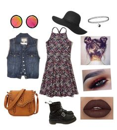 """""""90s Grunge-Inspired Outfit"""" by breannagutierres on Polyvore featuring Hollister Co., Current/Elliott, LULUS, Dr. Martens and modern"""