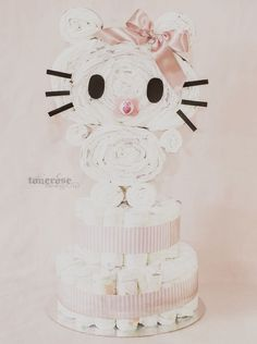 Hello Kitty diaper cake DIY - bleiekake