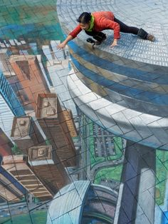 Chalk art depicting the Edgewalk, an attraction at the CN Tower in Toronto Ontario, Canada. Commissioned by the Canadian Tourism Board created by Tracy Lee Stum©