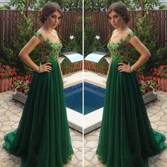 Sexy Charming Green Prom Dresses 2017 Scalloped Tulle