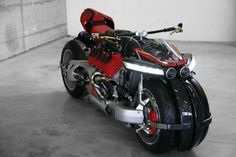 The Lazareth LM 847 features the engine out of a Maserati automobile, with a leaning quad chassis built around it. Concept Motorcycles, Custom Motorcycles, Custom Bikes, Custom Baggers, Triumph Motorcycles, 4 Wheels Motorcycle, Motorcycle Style, Motorcycle Tips, Women Motorcycle