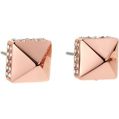 Vince Camuto Rose Gold-Tone Pyramid Stud Earrings ($12) ❤ liked on Polyvore featuring jewelry, earrings, gold, rose jewellery, rose gold tone earrings, vince camuto, vince camuto earrings and vince camuto jewelry