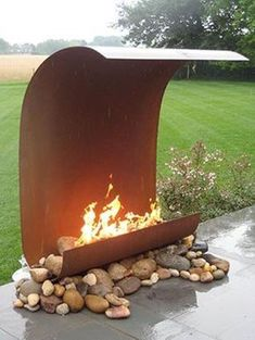 Fire Features Mild Rolled Steel wall super modern fire feature wall with river - Refrigerator - Trending Refrigerator for sales. - Fire Features Mild Rolled Steel wall super modern fire feature wall with river rock Diy Fire Pit, Fire Pit Backyard, Backyard Patio, Backyard Landscaping, Outdoor Fire Pits, Garden Fire Pit, Gravel Garden, Landscaping Ideas, Outdoor Stove