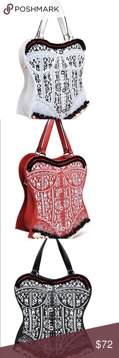 🎀 Romanticize 🎀 Large printed Corset SATCHEL This large printed corset Satchel is a show stopper.  This satchel is a large statement piece; it is not a mini bag.  Available in 3 colors White, Red, Black.  This satchel is made of 💯 percent vegan materials and features gold tone zippers.  If you want to use this corset satchel as a crossbody, you will find an additional strap inside Bags Satchels