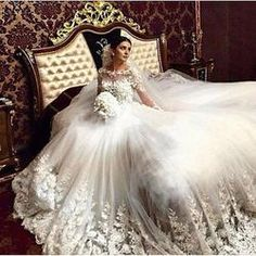 Vintage Long Sleeve Muslim Cathedral Train Lace Bridal Gown