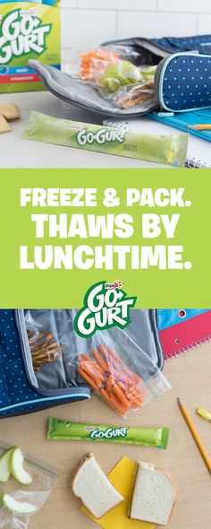 Pack Go-GURT frozen and it'll thaw by lunch. Buy now to fill your freezer. Toddler Meals, Kids Meals, Paleo Recipes, Cooking Recipes, School Snacks, Lunch Time, Lunch Box, Kid Friendly Meals, Eco Friendly