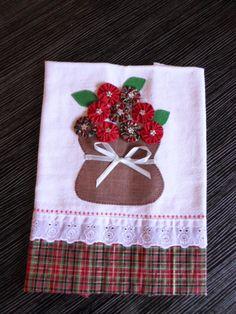 Pano de prato vaso de flores de natal, muito lindo para enfeitar