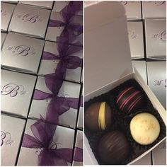 Four piece truffle in silver box with plum hotstamp and plum organza Wedding Shower Favors, Chanel Ballet Flats, Truffles, Plum, Box, Silver, Ideas, Cake Truffles, Truffle