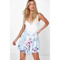 Boohoo Aliza Large Floral Skater Skirt ($16) ❤ liked on Polyvore featuring skirts, sky, midi skater skirt, midi circle skirt, white midi skirt, pleated skirt and white pleated skirt