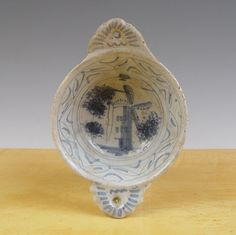 Antique Early Little Dutch Delft Maiolica Pap-Bowl Mill Circa 1650 Excavated