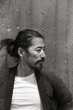 Guys with Top Knots Men with a top knot Asian Men Long Hair, Hiroki Nakamura, Asian Men Hairstyle, Japanese Men, Comme Des Garcons, Male Face, My Guy, Facial Hair, Portrait Photography