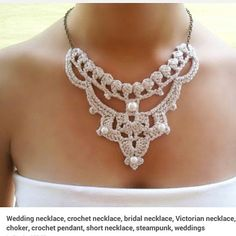 Wedding necklace crochet necklace bridal necklace by DIDIcrochet Pearl Necklace Wedding, Bridal Necklace, Crochet Collar, Crochet Lace, Crochet Wedding, Silver Choker, Unusual Jewelry, Textile Jewelry, Crochet Accessories