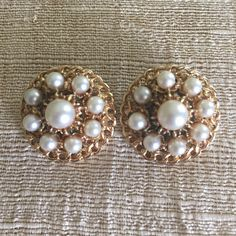 Faux Pearl Gold Tone Filigree Clip On Earrings Mid Century