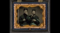 beautiful hand colored photos of civil war soldiers (fantastic frame, too)