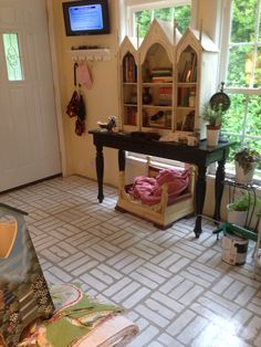 Stenciled concrete floor - saved money- but ended up being perfect for my sunroom!
