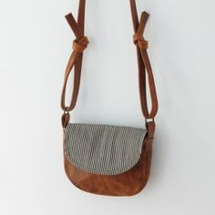 Items similar to gables leather satchel mini messenger bag in stripes and rusty brown leather on Etsy