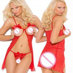 2017 Atractivo caliente de la ropa interior sujetador abierto + Tangas Baby Dolls Perspectiva lazo rojo sexy trajes de Gasa Roja atractiva chemise erotic ropa interior
