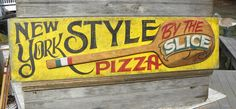 hand painted Pizza Pie sign by ZekesAntiqueSigns Pizza Sign, Open Signs, Business Signs, Hand Painted Signs, Pie, Painting, Decor, Torte, Cake