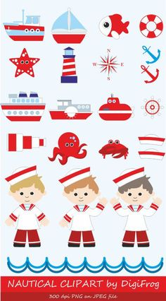 Navy, blue nautical marine clipart, sailor clipart, sea ocean clipart, summer clipart, anchor clipart, steering wheel, lighthouse, submarine by DigiFrog on Etsy