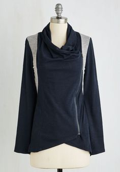Airport Greeting Cardigan in Navy and Gray. With a a long day of travel ahead, you take comfort in knowing you'll be with friends and family by dinnertime, dressed comfortably in this colorblocked cardigan. #blue #modcloth