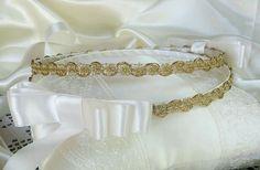 PAIR OF GREEK STEFANA + PILLOW - GOLD SET OF HANDMADE ORTHODOX WEDDING CROWN #Crown