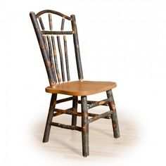Kunkle Holdings LLC Two Wagon Wheel Rustic Dining Chairs - Hickory & Oak or All Hickory Hickory Wood, Hickory Chair, Rustic Dining Chairs, Dining Table, Wood Chairs, Log Furniture, Wagon Wheel, Solid Oak, Natural Wood