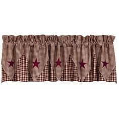 Our Vintage Star Wine Point Valance is a great addition to any country or primitive home. A traditional homespun cloth of wine and khaki plaid overlaid with a five point contrasting check and wine star layer.
