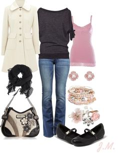 """""""Pink & Black"""" by jenniemitchell ❤ liked on Polyvore"""
