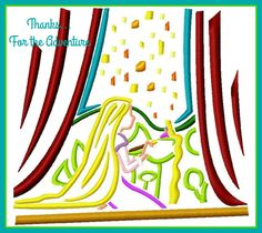 Rapunzel's Lantern Mural from Tangled Sketch Digital Embroidery Machine  Design File  5x7 6x10 by Thanks4TheAdventure on Etsy