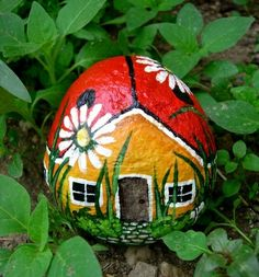 Garden art idea.  Painted rock.