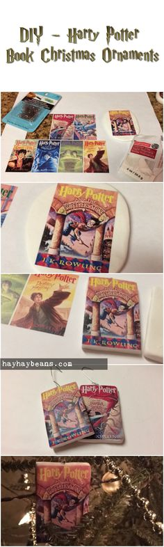[DIY - Harry Potter Book Christmas Ornaments] - free printable at hayhaybeans.com